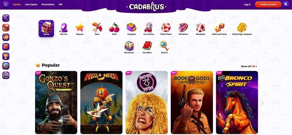 Cadabrus Online Casino Games