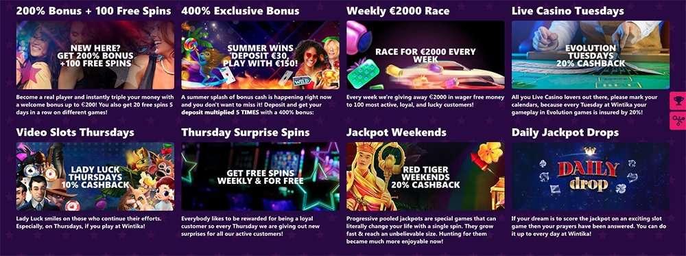 Wintika Casino Bonuses and Promotions